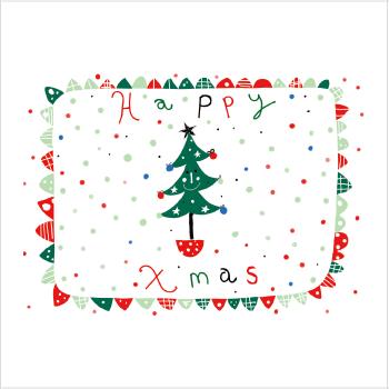 Xmasランチョンマット<br/>ハッピークリスマス(北欧風)