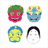 "Masks for Setsubun   ""Demons Out! Good Luck In!"""