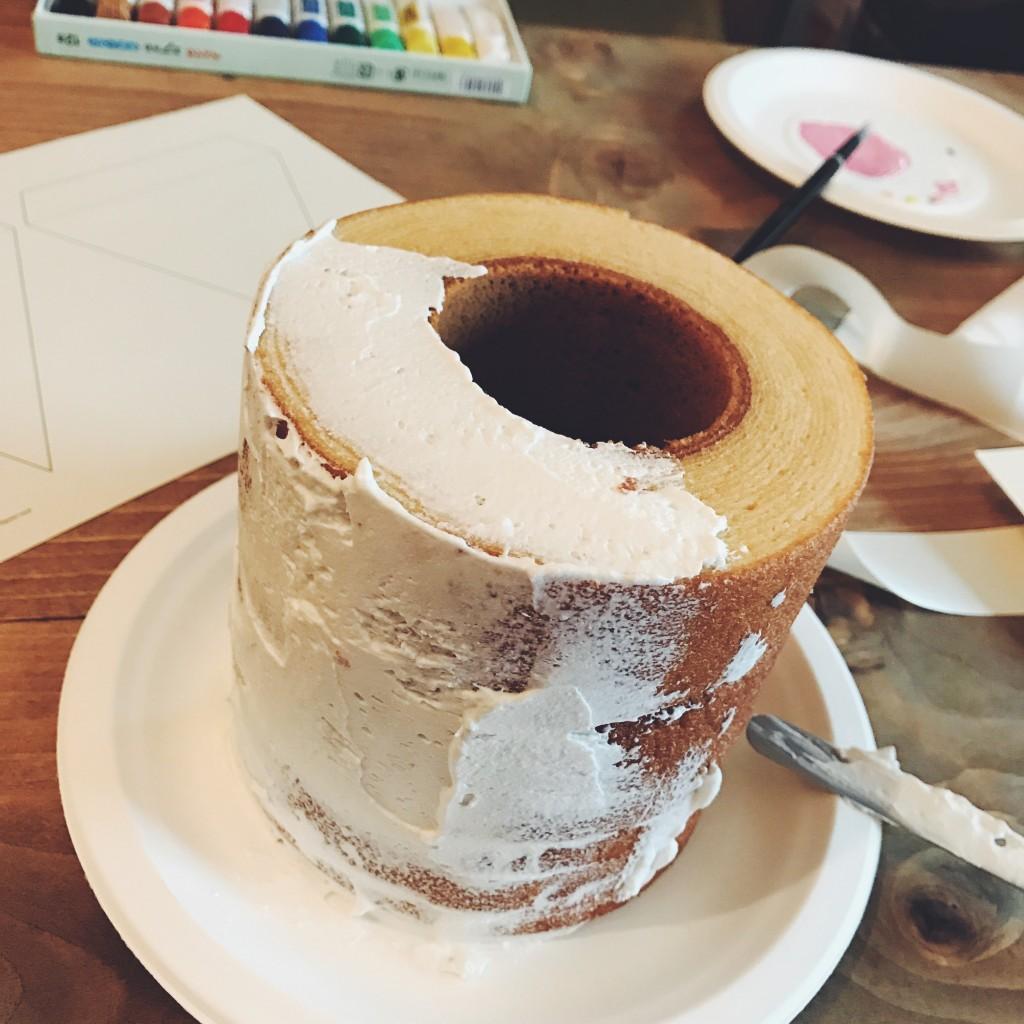 バームクーヘンでケーキ作り